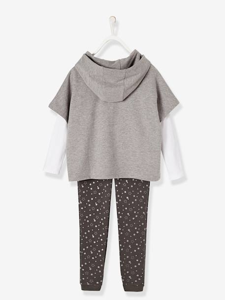 Girls' Jacket + Top + Trouser Set GREY LIGHT MIXED COLOR+PINK LIGHT SOLID WITH DESIGN - vertbaudet enfant