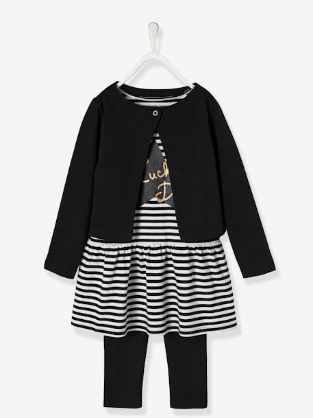 Girls' 3-Piece Outfit BLACK DARK STRIPED+PINK LIGHT STRIPED - vertbaudet enfant