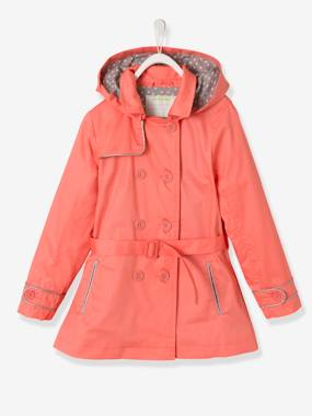 New collection-Girls' Water-Repellent Trenchcoat with Detachable Hood