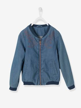 Vertbaudet Collection-Girls' Embroidered Denim Bomber Jacket