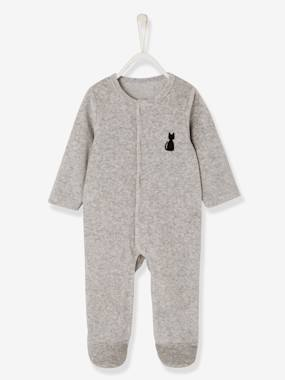 Baby-Pyjamas-Babies' Velour Pyjamas, Organic Collection, with Decorative detail on the Back