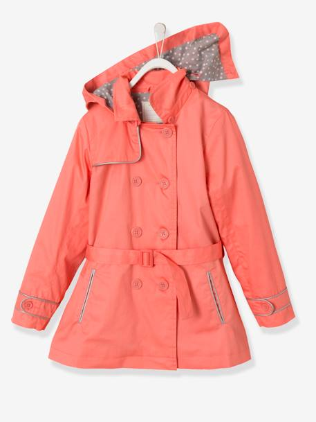 Girls' Water-Repellent Trenchcoat with Detachable Hood Light beige+PINK LIGHT SOLID - vertbaudet enfant