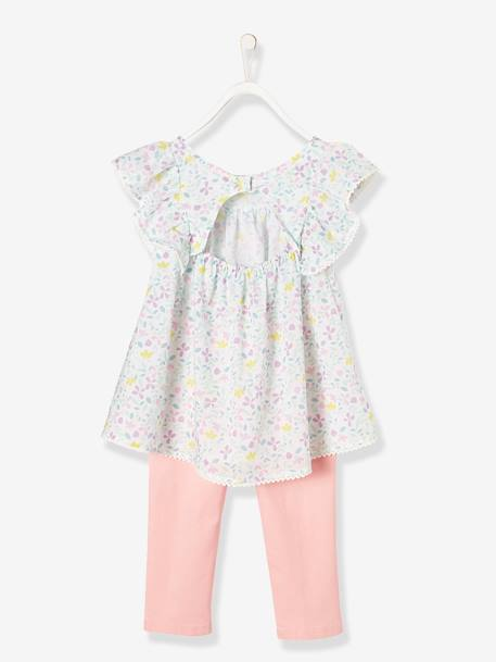 Girls' Blouse + Cropped Trousers Outfit RED LIGHT ALL OVER PRINTED+WHITE LIGHT ALL OVER PRINTED - vertbaudet enfant