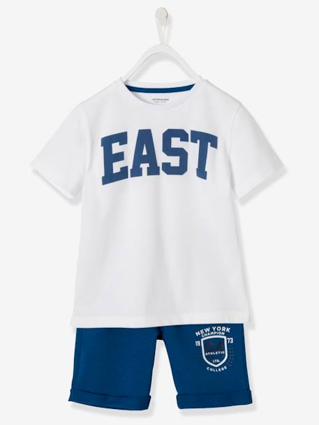 Boys' T-Shirt + Bermuda Shorts Outfit WHITE LIGHT SOLID WITH DESIGN - vertbaudet enfant