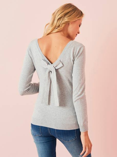 Maternity Jumper with a Bow on the Back GREY MEDIUM MIXED COLOR - vertbaudet enfant