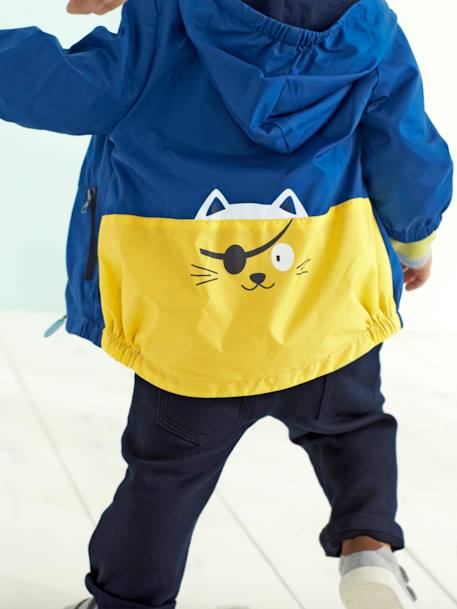 Baby Boys' Raincoat, Pirate Motif, with Hood BLUE DARK SOLID WITH DESIGN - vertbaudet enfant