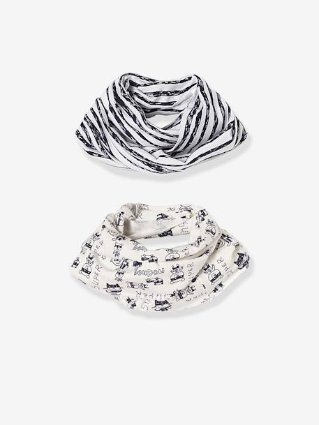 Baby Boys' Pack of 2 Printed Snoods BLUE DARK TWO COLOR/MULTICOL - vertbaudet enfant