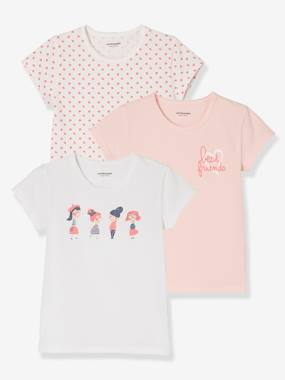 Girls-Underwear-T-Shirts-Girls' Pack of 3 Stretch T-Shirts