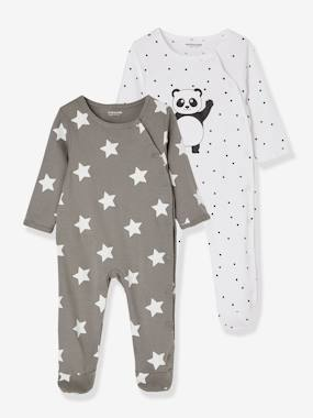 Basics and Multipacks-Babies' Pack of 2 Sets of Cotton Pyjamas, Press Studs on the Front