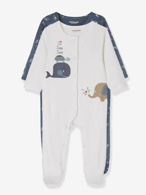 Vertbaudet Collection-Baby-Babies' 2 Sets of Pyjamas, in Printed Cotton, Press Studs on the Front