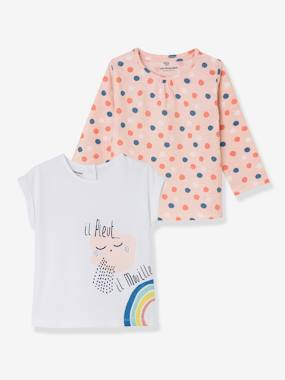 Baby-T-shirts & Roll Neck T-Shirts-T-shirts-Pack of 2 Baby Girls' Tops, Short-Sleeved + Long-Sleeved