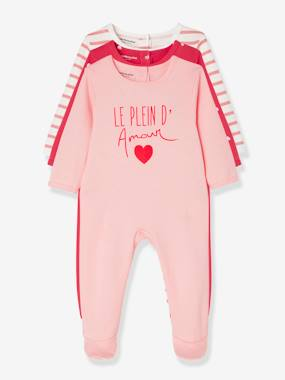 Vertbaudet Sale-Babies Pack of 3 Pyjamas, Press-studs on the Back