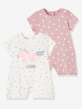 Baby-Pyjamas-Babies' Pack of 2 Cotton Pyjamas, Press-studs on the Back