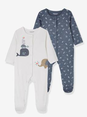 Basics and Multipacks-Baby-Babies' 2 Sets of Pyjamas, in Printed Cotton, Press Studs on the Front