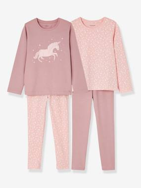 Collection Vertbaudet-Lot de 2 pyjamas fille combinables