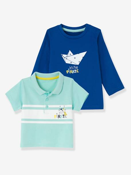 Baby Boys' Pack of 2: Top & Polo Shirt BLUE DARK TWO COLOR/MULTICOL+WHITE LIGHT TWO COLOR/MULTICOL - vertbaudet enfant