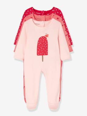 Vertbaudet Collection-Baby-Babies' Pack of 3 Cotton Pyjamas, Press-studs on the Back