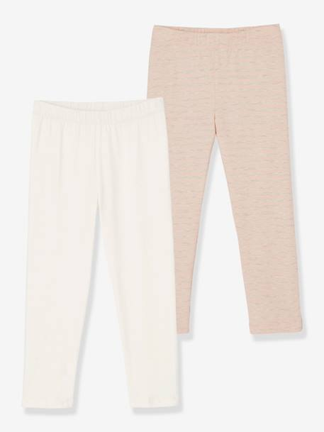 Lot de 2 leggings fille mi-mollets Gris+jaune+Rose rayé+blanc - vertbaudet enfant