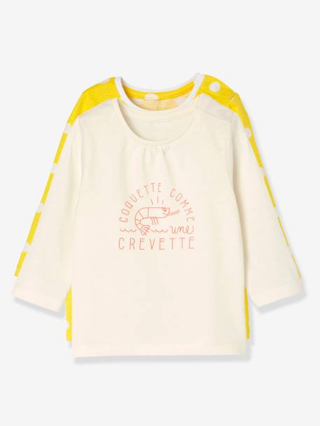 Baby Girls' Pack of 2 Long-Sleeved T-Shirts GREEN LIGHT 2 COLOR/MULTICOLOR+YELLOW MEDIUM 2 COLOR/MULTICOL - vertbaudet enfant