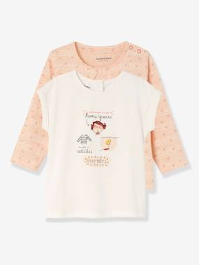 Mid season sale-Baby-Pack of 2 Baby Girls' Tops, Short-Sleeved + Long-Sleeved