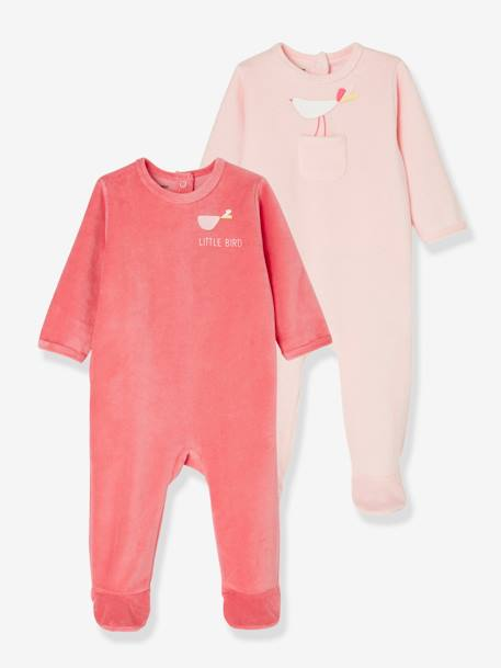 Babies' Pack of 2 Velour Pyjamas, Press-studs on the Back PINK MEDIUM 2 COLOR/MULTICOL - vertbaudet enfant