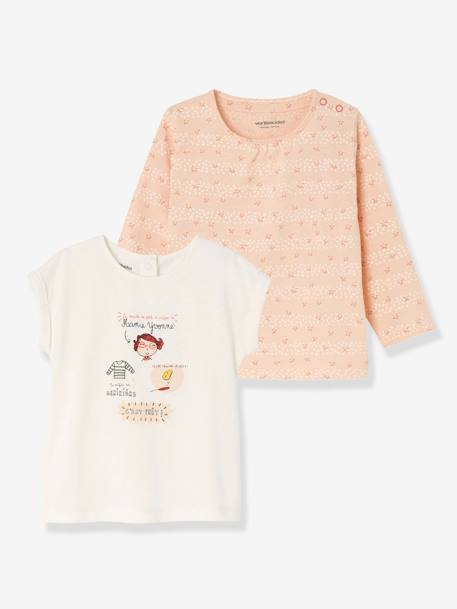Pack of 2 Baby Girls' Tops, Short-Sleeved + Long-Sleeved PINK LIGHT 2 COLOR/MULTICOL R+PINK MEDIUM 2 COLOR/MULTICOL - vertbaudet enfant