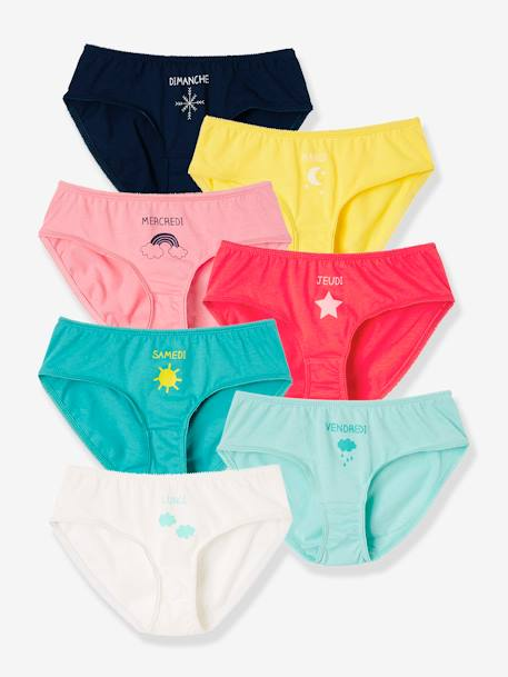 Girls' Pack of 7 Briefs for Every Day of the Week RED LIGHT 2 COLOR/MULTICOL R - vertbaudet enfant