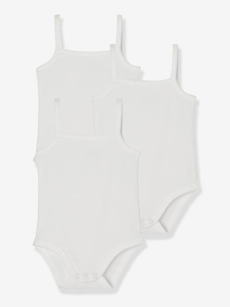 Baby Pack of 3 Pure Cotton Bodysuits with Thin Straps White - vertbaudet enfant