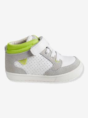 Shoes-Baby Footwear-Baby Boy Walking-Boys' High-Top Trainers, in Leather