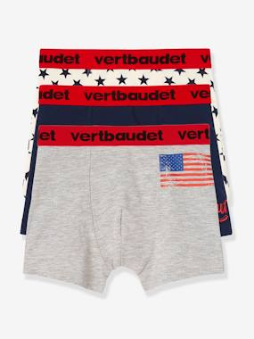 Vertbaudet Sale-Boys-Boys' Pack of 3 Stretch Boxer Shorts