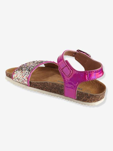 Girls' Sandals with Glitter PINK MEDIUM METALLIZED+WHITE LIGHT METALLIZED - vertbaudet enfant