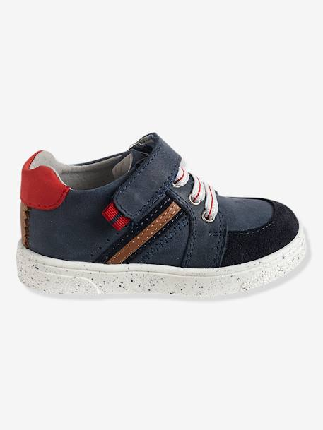 Boys' Trainers in Leather BLUE DARK SOLID+WHITE MEDIUM SOLID WITH DESIGN - vertbaudet enfant