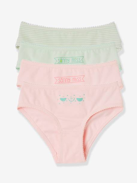 Girls' Pack of 4 Stretch Briefs GREEN LIGHT 2 COLOR/MULTICOLOR+YELLOW LIGHT 2 COLOR/MULTICOL - vertbaudet enfant