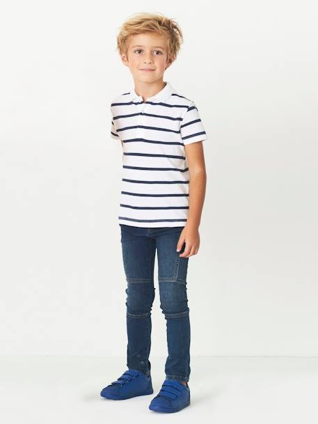 LARGE Fit, Boys' Slim Fit Biker-Style Jeans BLUE DARK WASCHED+BLUE MEDIUM WASCHED - vertbaudet enfant