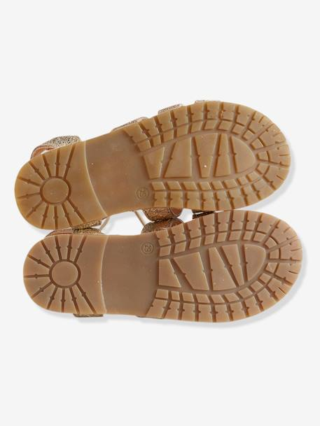 Girls' Sandals, in Metallized Leather BEIGE MEDIUM METALLIZED - vertbaudet enfant