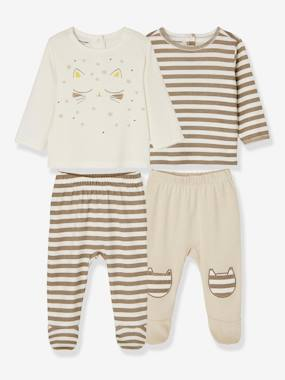 Baby-Pyjamas-Pack of 2 Sets of 2-Piece Baby Pyjamas, in Cotton