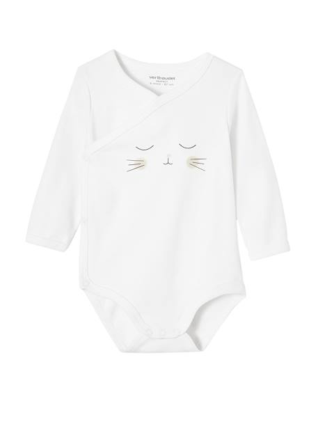 Pack of 2 Newborn Bodysuits, Cat Motif, in Organic Cotton GREY LIGHT TWO COLOR/MULTICOL+WHITE LIGHT TWO COLOR/MULTICOL - vertbaudet enfant