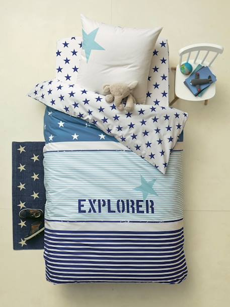 Duvet Cover + Pillowcase Set, Explorer Theme Blue/ecru - vertbaudet enfant
