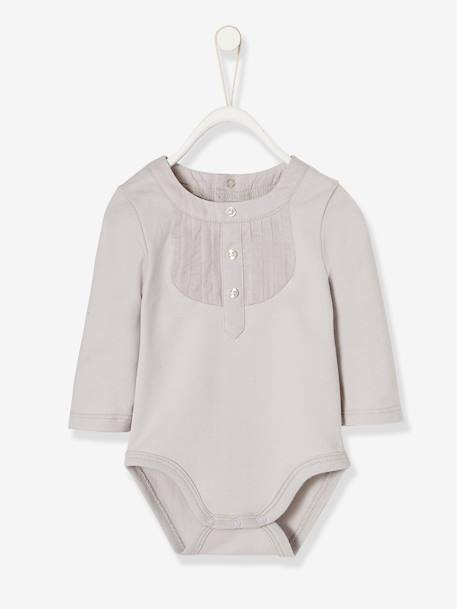 Occasion-wear Bodysuit for Newborn Babies GREY LIGHT STRIPED - vertbaudet enfant