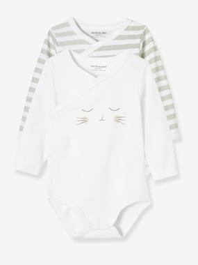 Baby-Bodysuits & Sleepsuits-Pack of 2 Newborn Bodysuits, Cat Motif, in Organic Cotton