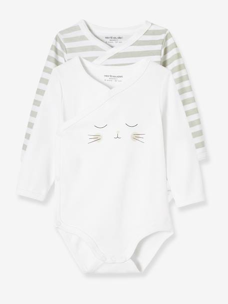 Pack of 2 Newborn Bodysuits, Cat Motif, in Organic Cotton GREY LIGHT TWO COLOR/MULTICOL - vertbaudet enfant