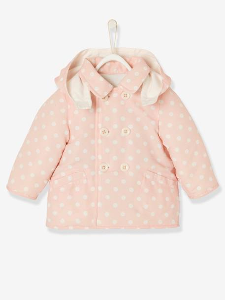 Baby Girls' Reversible Coat PINK LIGHT ALL OVER PRINTED - vertbaudet enfant