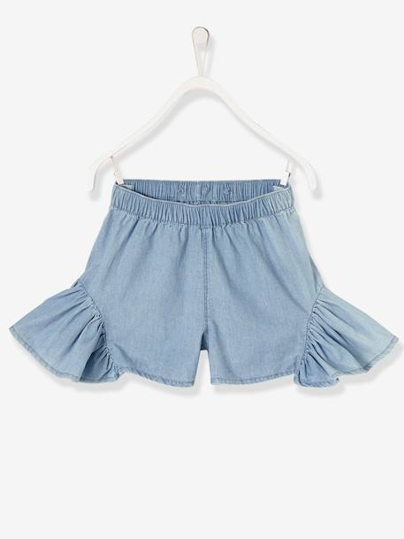 Girls' Skort with Braces BLUE LIGHT WASCHED - vertbaudet enfant