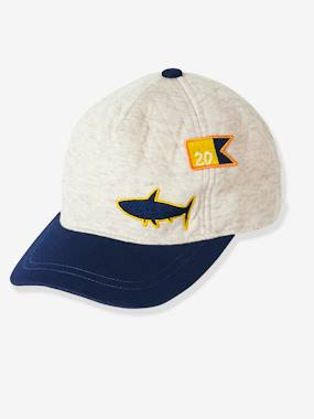 navy shark boy-Boys' Padded Cap + Patch