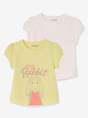 Baby-T-shirts & Roll Neck T-Shirts-T-shirts-Pack of 2 Baby Girls' Assorted Tops