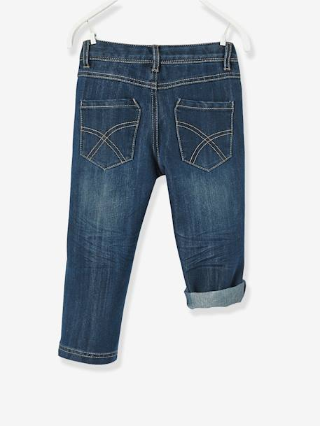 Boys' Indestructible Cropped Denim Trousers, Convertible into Bermuda Shorts BLUE DARK SOLID+BLUE DARK WASCHED - vertbaudet enfant