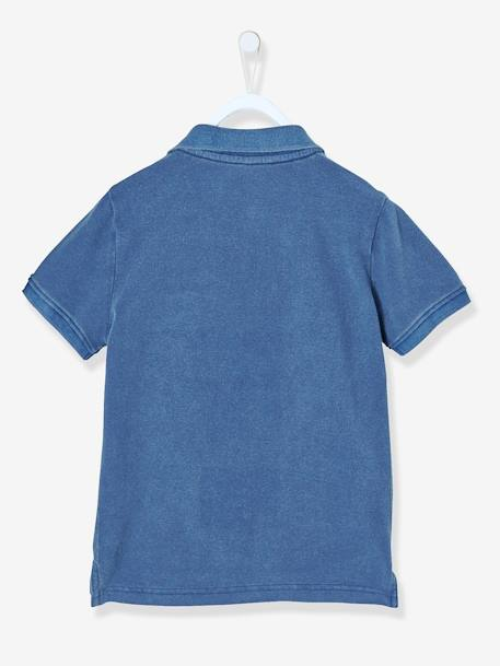 Boys' Faded-Effect Polo Shirt BLUE DARK SOLID WITH DESIGN+RED BRIGHT SOLID WITH DESIG - vertbaudet enfant