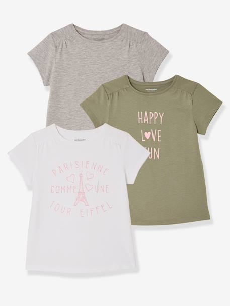 Girls' Pack of 3 Short-Sleeved T-Shirts GREEN DARK 2 COLOR/MULTICOLORR+PINK DARK 2 COLOR/MULTICOL OR+PINK LIGHT 2 COLOR/MULTICOL R+RED LIGHT 2 COLOR/MULTICOL R+YELLOW MEDIUM 2 COLOR/MULTICOL - vertbaudet enfant