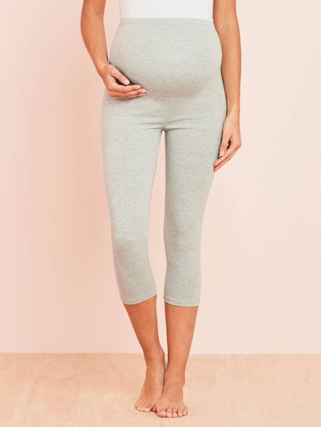 Short Maternity Leggings Black+BLUE DARK SOLID+GREY LIGHT MIXED COLOR - vertbaudet enfant