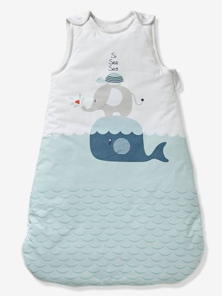 new product 39067 5b9e5 Sleeveless Baby Sleep Bag, Whale Theme - blue light solid with design,  Bedding & Decor